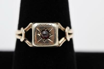 Victorian 14K Yellow Gold Rose Cut Bohemian Garnet Handmade Size 9.25 Ring