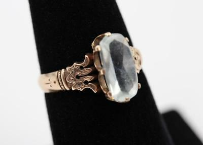 1870s Victorian Rose Gold Fancy Engraved Design Aquamarine Size 7.5 Ring