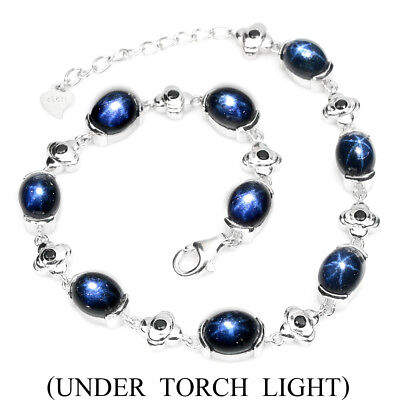 Stunning Oval 8x6 Mm 6 Rays Star Sapphire Diffusion 925 Sterling Silver Bracelet