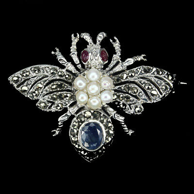 Awesome 8x6mm Top Rich Blue Sapphire Marcasite Pearl Ruby 925 Silver Bee Brooch