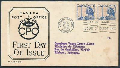 1960 #390 Battle of Long Sault FDC, CPO Presentation Cachet, Letter, to Portugal