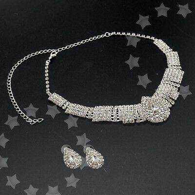 White Party Wedding Bridal Diamante Crystal Necklace Earrings Set Jewelry