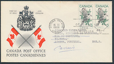 1968 #478 5c Gray Jay FDC, CPO Presentation Cachet with Letter, to Portugal