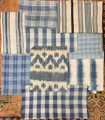 Beautiful 18th and 19th C.French Cotton and Linen Plaids, Stripes & Ikats (2167)