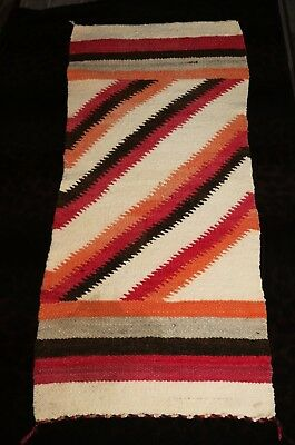 "Authentic Antique Navajo Eye-Dazzler Gallup Throw Rug or Blanket 34.5"" x 16.5"""