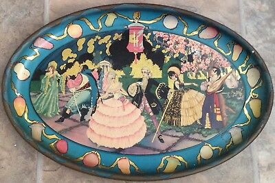 ANTIQUE  ART DECO FANCY DRESS COSTUME PARTY c1920's  PRETTY  METAL TIN OVAL TRAY