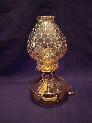 Mint Condition Vintage Fostoria Opalescent Coin Dot Amber Finger Loop Oil Lamp