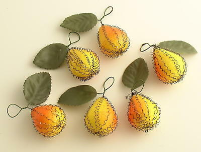 6 Wire Wrapped Pears Vintage Style Christmas Ornaments