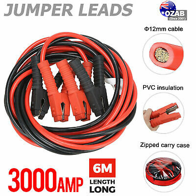3000AMP Jumper Leads 6M Long Surge Protected Heavy Duty Jump Booster Cables AU