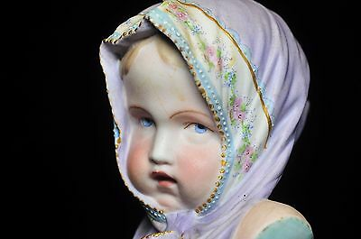 """Antique Continental Porcelain Large Bust/figure Of A Young Girl 10"""" Tall"""
