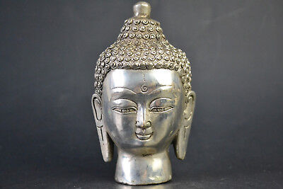 Collectible Old Copper Silver Plate Carve Buddha Sculpture Noble Statue wonder