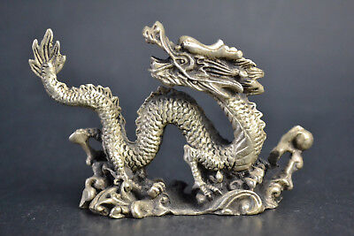 China Collectible Old Copper Silver Plate Royal Dragon Lucky wonder Statue