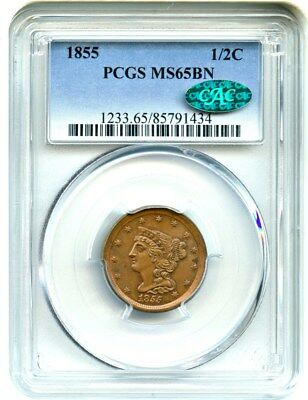 1855 1/2c PCGS/CAC MS65 BN - Gorgeous Gem Type Coin - Half Cent