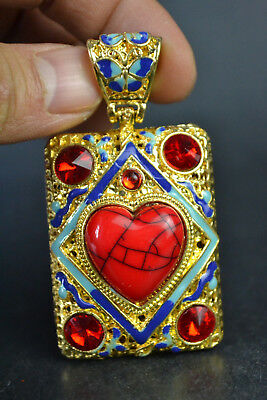Old Handwork Tibet Silver Cloisonne red coral bead heart-shaped Pendant