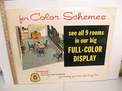 ARMSTRONG Quaker 1950s home floor coverings carpet rug store display sign 9 ROOM