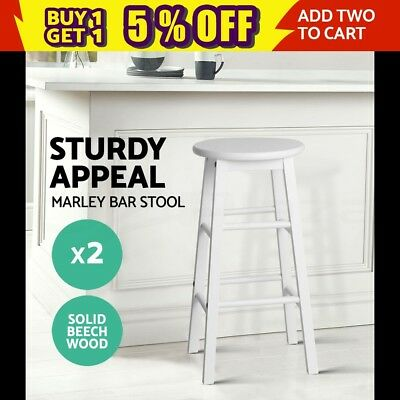 2x MARLEY Beech Wooden Bar Stool Dining Barstool Chair Kitchen Cafe Bistro White