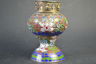 Collectible Fine Handwork Old Cloisonne Painting Flower Decor enable Oil Lamp