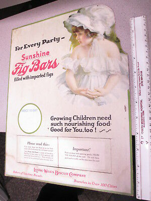 SUNSHINE Loose-Wiles Biscuit Co 1920s store sign FIG BAR cookie night gown girl
