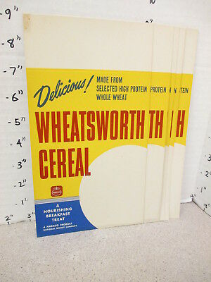 NABISCO 1940s grocery store display shelf sign WHEATSWORTH cereal box DELICIOUS