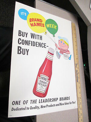 HEINZ KETCHUP CATSUP 1960s advertising store display sign cartoon kid balloons