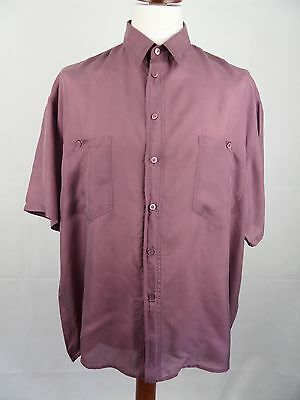 Vtg S-Sleeve Floaty Flouncy Purple Baggy Silk Shirt Indie Urban -XL- DZ48