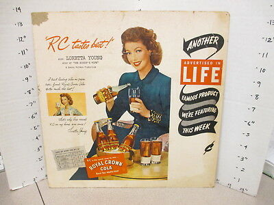 Royal Crown COLA soda 1940s store display sign Loretta Young movie Bishop's Wife