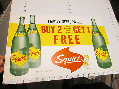 SQUIRT soda 1960s store display sign poster 2,1 free 28oz bottle FAMILY SIZE #1