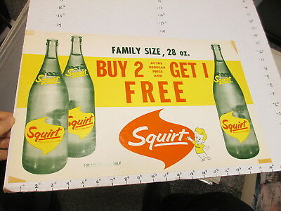 SQUIRT soda 1960s store display sign poster 2,1 free 28oz bottle FAMILY SIZE #2