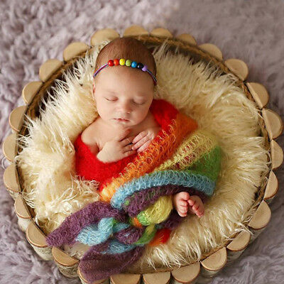 Newborn Photography Baby-Knit Rainbow Mohair Wrap Backdrop Blanket Props NEW