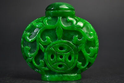 RARE emptiness Old Natural green jade Inside Hollow carve coin Snuff Bottle