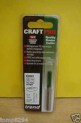 """Trend C007 6.3Mm X 1/4"""" Straight Tct Router Cutter Bit"""