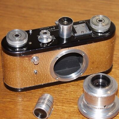 CORFIELD Periflex Original PIGSKIN camera 50mm f3.5 LUMAX lens Leica screw 1953