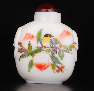 Authentic Chinese Coloured Glaze Snuff Bottle Painting Manually Yuanyang Peach