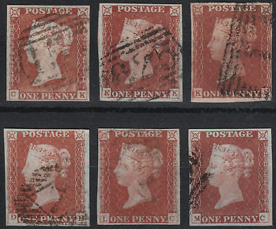 1841 SG8 1d RED BROWN (SHADES) 1844 CANCELS PLATED SELECTION 1