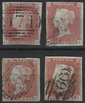 1841 SG8 1d RED BROWN (SHADES) 1844 CANCELS PLATED SELECTION OF RE-ENTRIES