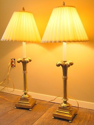 Vintage Rembrandt Brass Lamps Tall Pair Original Shades Finials French Plume