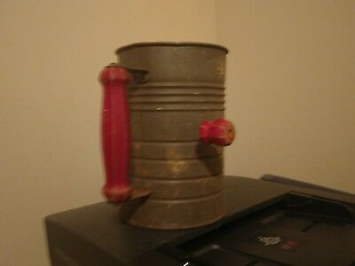 """Vintage Flour Sifter -7"""" Tall Red Handle with Double Screen -Unusual"""