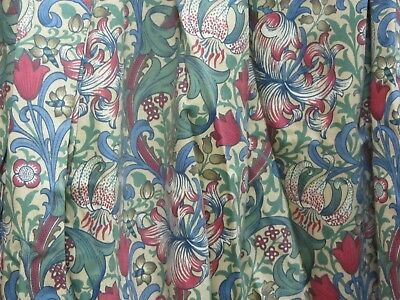 """Pair of Green and Red Patterned Tape top Lined Curtains 104"""" W X 80"""" D  #C15"""