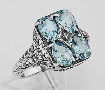 New Blue Topaz Floral Filigree Ring - Sterling Silver Art Deco Style Trufili