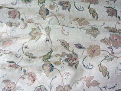 """Pair of Heavy Lined Tape top Floral Curtains Biege and Green 88""""W X 72""""D   #C18"""