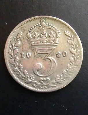 Solid Silver Threepence. Dated 1920
