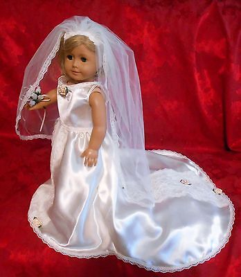 """AMERICAN GIRL  size DOLL   WEDDING GOWN  #134    """"OOAK """"  BY EDE  SALE!"""