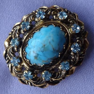 Vintage Small Turquoise Cabochon & Sky Blue Stone Brooch