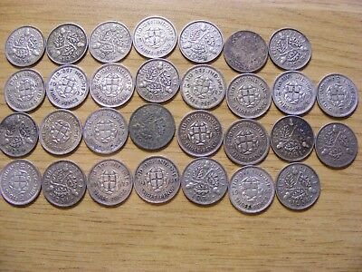30 x George V & VI Silver Threepence Coins - Dates 1922 - 1940