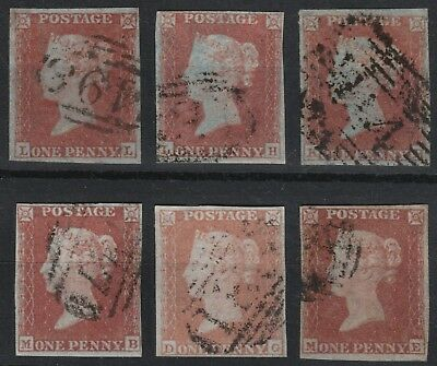 1852 ALPHABET II SG8 1d RED BROWN (SHADES) PLATED SELECTION 2