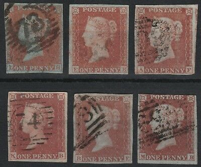 1852 ALPHABET II SG8 1d RED BROWN (SHADES) PLATED SELECTION 3