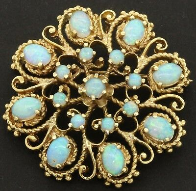Heavy vintage 14K gold amazing elegant 5.0CT opal cluster filigree brooch
