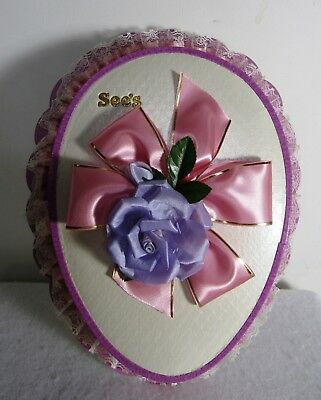 Vintage Egg Shaped See's Candy 2 Pound Box With Silk Flowers