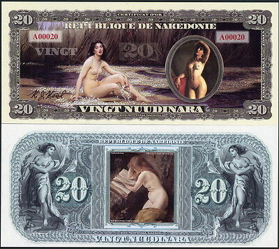 Republique De Nakedonie 20 Nuudinara Bare Naked Nude Ladies Fantasy Art Note!