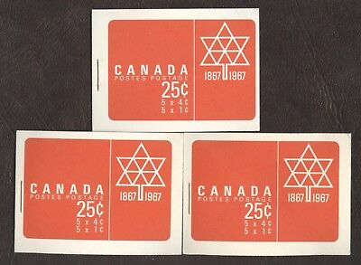 Stamps Canada # BK 54, 1967, lot of 3  Booklets MNH stamps.